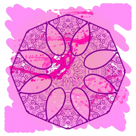 what is karma: What is karma? Oriental mandala motif round lase pattern on the violet background, like snowflake or mehndi paint of deep pink color Illustration
