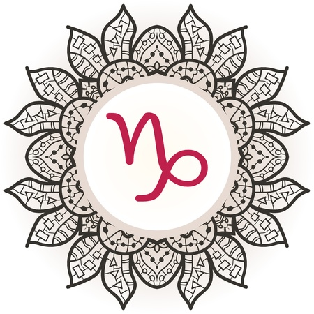 what is karma: zodiac sign Capricorn. What is karma? Vector circle with zodiac signs on ornate wallpaper. Oriental mandala motif square lase pattern, like snowflake or mehndi paint. Watercolor elements on background