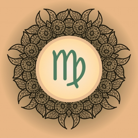what is karma: sign Virgo. What is karma Vector circle with  signs on ornate wallpaper. Oriental mandala motif square lase pattern, like snowflake or mehndi paint. Watercolor elements on background