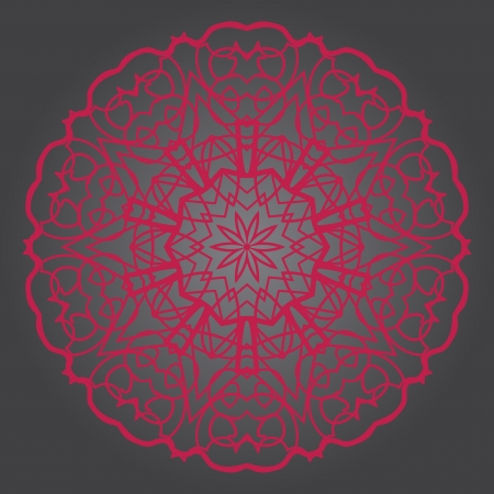 What is karma? Oriental mandala motif round lase pattern on the violet background, like snowflake or mehndi paint of deep pink color Vector