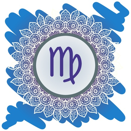 zodiak: sign Virgo. What is karma Vector circle with signs on ornate wallpaper. Oriental mandala motif square lase pattern, like snowflake or mehndi paint. Watercolor elements on background