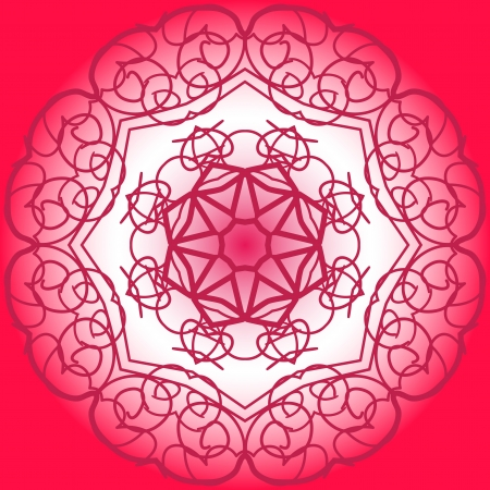 what is karma: what is karma? Oriental mandala motif henna paint round lase pattern on the Red background, like snowflake or mehndi paint of deep pink color. Watercolor elements on background