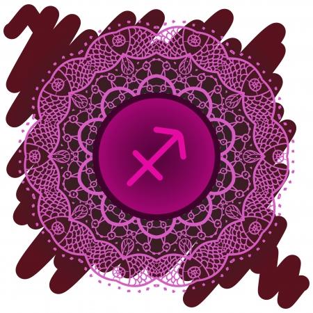 sign Sagittarius. What is karma Vector circle  signs on ornate wallpaper. Oriental mandala motif square lase pattern, like snowflake or mehndi paint. Watercolor elements on background Stock Vector - 18921643