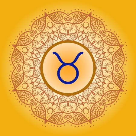 prediction: sign Taurus. What is karma Vector circle with signs on ornate wallpaper. Oriental mandala motif square lase pattern, like snowflake or mehndi paint. Watercolor elements on background Illustration
