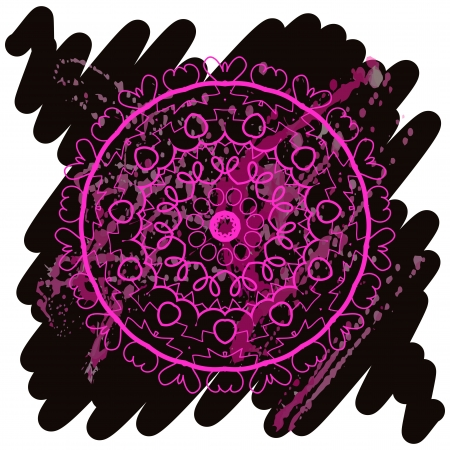Oriental mandala motif round lase pattern on the black background, like snowflake or mehndi paint in light color with watercolor element on backdrop  What is karma  Vector