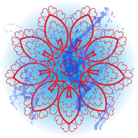 Oriental mandala motif round lase pattern on the blue background, like snowflake or mehndi paint in light-blue color  Ethnic backgrounds native art concept  What is karma