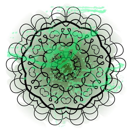 Oriental mandala motif round lase pattern on the green background, like snowflake or mehndi paint in light-blue color  Ethnic backgrounds native art concept  What is karma  Illustration