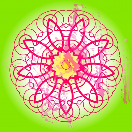 what is karma: Oriental mandala motif round lase pattern on the green background, like snowflake or mehndi paint in light-blue color  Ethnic backgrounds native art concept  What is karma  Illustration
