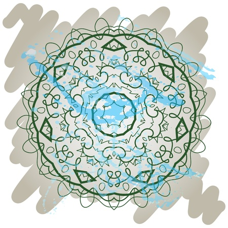 Oriental mandala motif round lase pattern of the green color, like snowflake or mehndi paint on light gray color  Karma mantras and yoga Vector