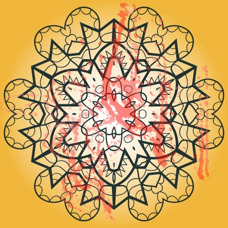 Oriental mandala motif round lase pattern on the yellow background, like snowflake or mehndi paint of orange color  Ethnic backgrounds concept Stock Vector - 19032710