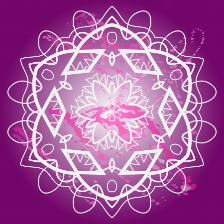 what is karma: What is karma  Oriental mandala motif round lase pattern on the violet background, like snowflake or mehndi paint of deep pink color