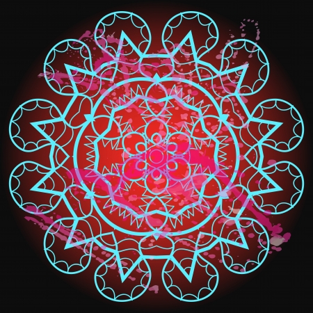what is karma: Oriental mandala motif round lase pattern on the black background, like snowflake or mehndi paint in light color with watercolor element on backdrop  What is karma  Illustration