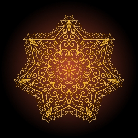 what is karma  Oriental mandala motif round lase pattern on the brown background, like snowflake or mehndi paint of orange color  Ethnic backgrounds concept Stock Vector - 19314222