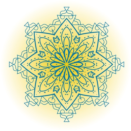 mendi: Oriental mandala motif round lase pattern on the yellow background, like snowflake or mehndi paint bright color  Ethnic backgrounds concept