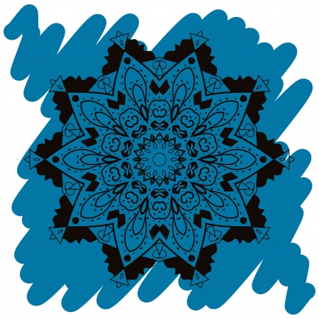 Oriental mandala motif round lase pattern on the blue background, like snowflake or mehndi paint in light-blue color  Ethnic backgrounds native art concept  What is karma Stock Vector - 19314216