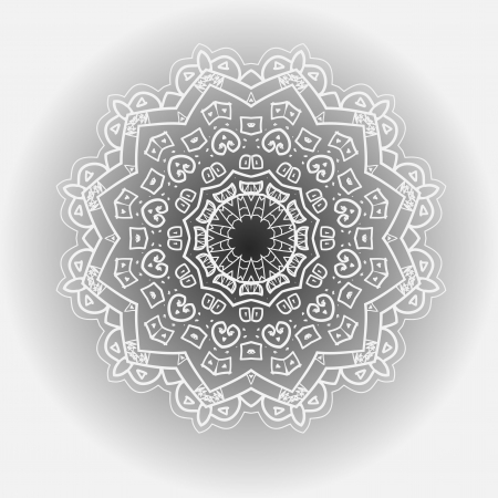 Oriental mandala motif round lase pattern of the black color, like snowflake or mehndi paint on light gray color  Karma mantras and yoga Stock Vector - 19314214