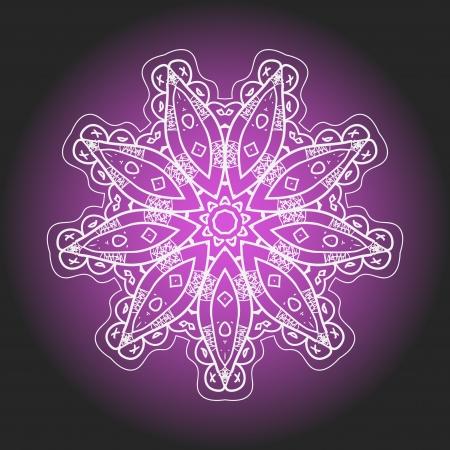 karma: What is karma  Oriental mandala motif round lase pattern on the violet background, like snowflake or mehndi paint of deep pink color