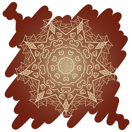 what is karma  Oriental mandala motif round lase pattern on the brown background, like snowflake or mehndi paint of orange color  Ethnic backgrounds concept Vector