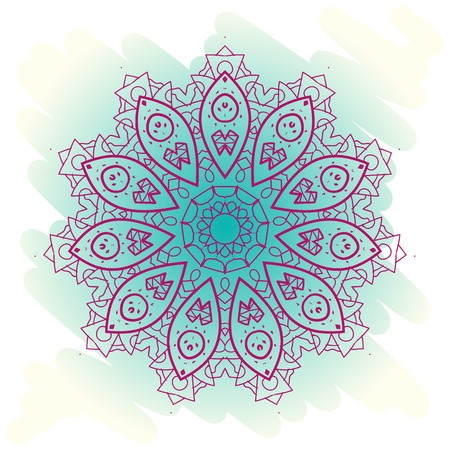 Oriental mandala motif round lase pattern on the blue background, like snowflake or mehndi paint on light-blue color  Ethnic backgrounds native art concept  What is karma