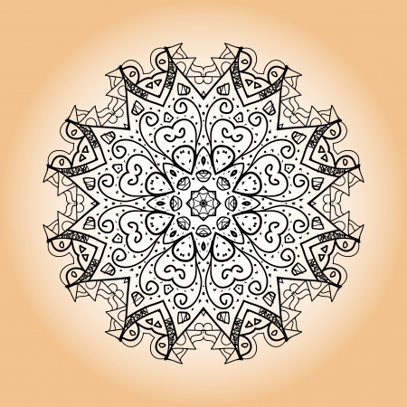 karma design: what is karma  Oriental mandala motif round lase pattern on the brown background, like snowflake or mehndi paint of orange color  Ethnic backgrounds concept