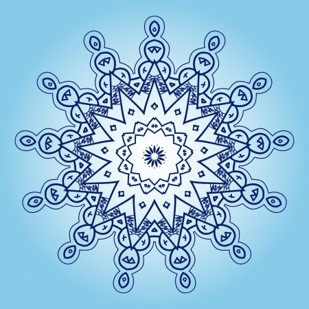 Oriental mandala motif round lase pattern on the blue background, like snowflake or mehndi paint in light color with watercolor element on backdrop  What is karma  Vector