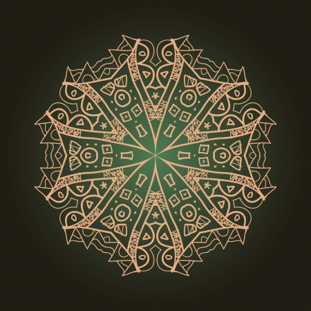 karma concept: what is karma  Oriental mandala motif round lase pattern on the brown background, like snowflake or mehndi paint of orange color  Ethnic backgrounds concept