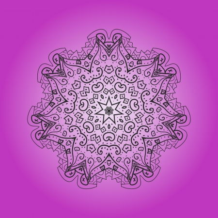 What is karma  Oriental mandala motif round lase pattern on the violet background, like snowflake or mehndi paint of deep pink color