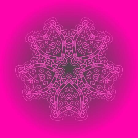 deep pink: What is karma  Oriental mandala motif round lase pattern on the violet background, like snowflake or mehndi paint of deep pink color