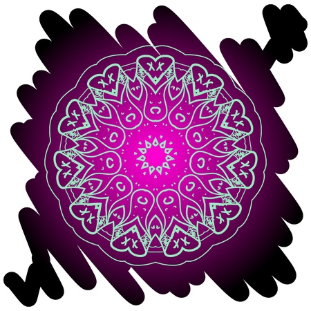 Oriental mandala motif round lase pattern on the black background, like snowflake or mehndi paint in light color  What is karma  Vector