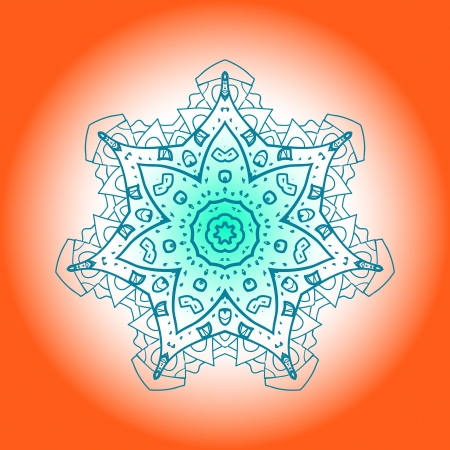 tribal aquarius: Oriental mandala motif round lase pattern on the orange background, like snowflake or mehndi paint bright color  Ethnic backgrounds concept