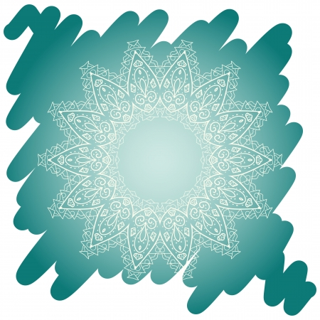 tribal aquarius: Oriental mandala motif round lase pattern on the blue background, like snowflake or mehndi paint in light-blue color  Ethnic backgrounds native art concept  What is karma