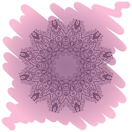tribal aquarius: What is karma  Oriental mandala motif round lase pattern on the violet background, like snowflake or mehndi paint of deep pink color