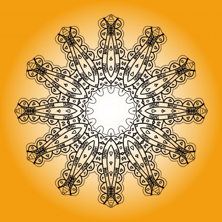 Oriental mandala motif round lase pattern on the yellow background, like snowflake or mehndi paint bright color  Ethnic backgrounds concept Vector