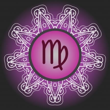 sterrenbeeld de Maagd Maagd op sierlijke oosterse mandalapatroon