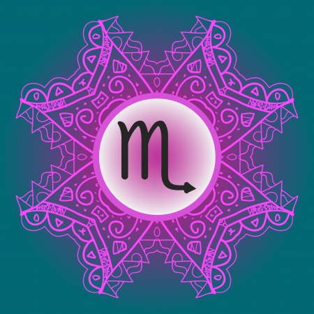 zodiacal sign: El signo zodiacal Escorpi�n �guila Escorpio signo del zodiaco �Cu�l es el karma en el patr�n de mandala Oriental adornado