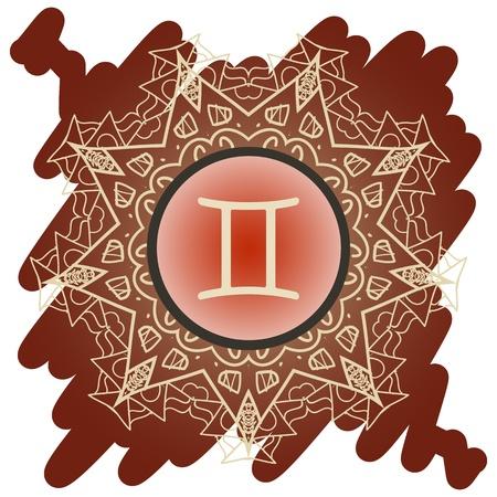 future twin: zodiac sign The Twins  Gemini  on ornate with Oriental mandala pattern