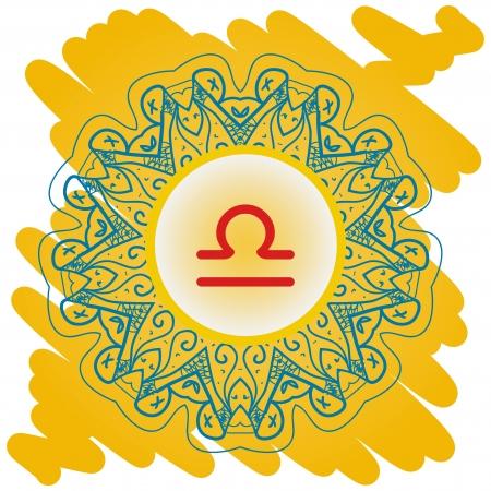 zodiacal sign: El signo del zodiaco Libra Scales en el patr�n de mandala oriental oro