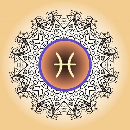 zodiac sign The Fish  Pisces  on ornate Oriental mandala motif pattern