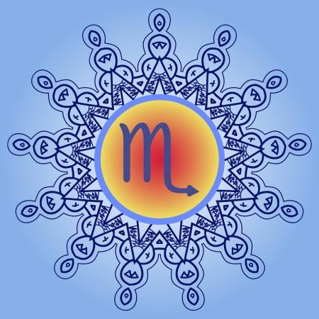 future twin: zodiac sign The Scorpion Eagle  Scorpio   What is karma  zodiac sign on ornate Oriental mandala pattern Illustration