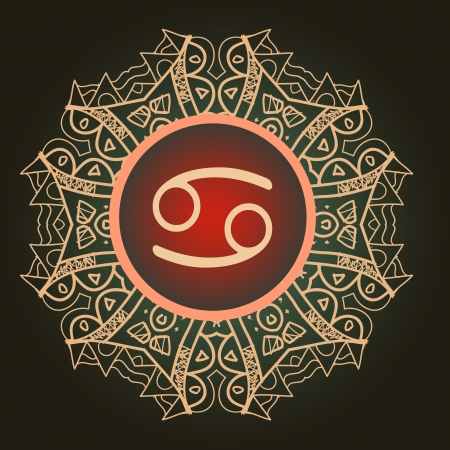 zodiacal sign: El signo del zodiaco c�ncer cangrejo sobre el patr�n de mandala oriental