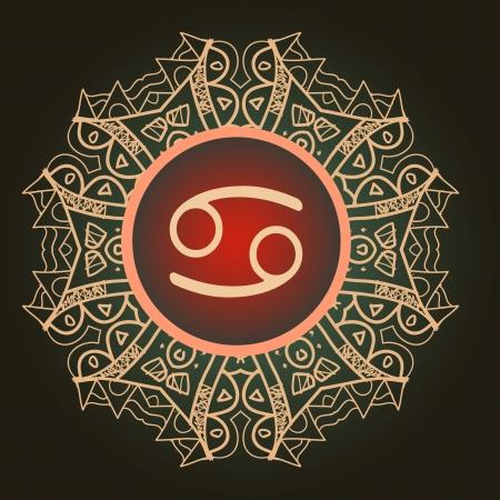 zodiac sign The Crab  Cancer  over oriental mandala pattern Illustration