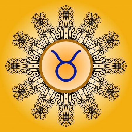 zodiacal sign: signo del zodiaco El signo del zodiaco Tauro Bull en el patr?n de lase motivo mandala Oriental adornado