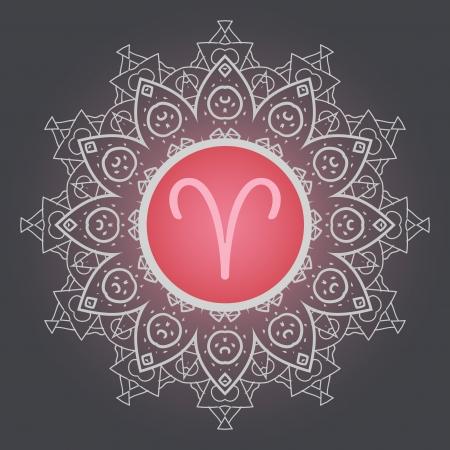zodiac sign The Ram  Aries  on ornate oriental mandala motif pattern