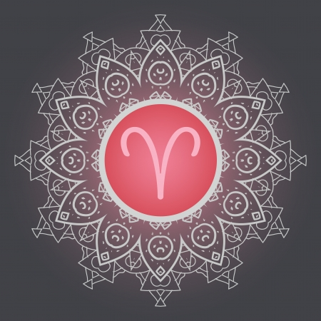 signes du zodiaque: signe du zodiaque Le B�lier Aries sur le mod�le de motif mandala oriental fleuri Illustration