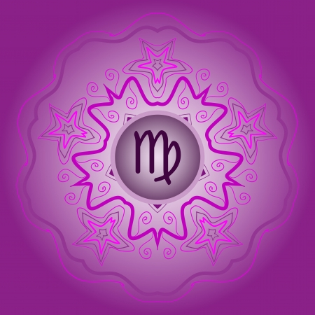 zodiac sign The Virgin  Virgo  on ornate oriental mandala violet Vector