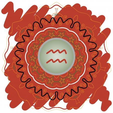 water bearer: zodiac sign Water Bearer  Aquarius   Vector with zodiac sign on mandala motif pattern brown Illustration