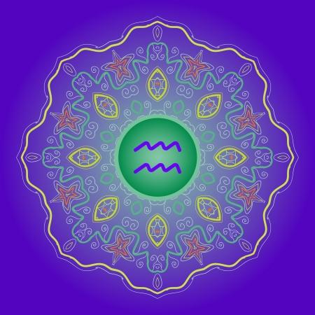 water bearer: zodiac sign Water Bearer  Aquarius   Vector with zodiac sign on mandala motif pattern   blue Illustration