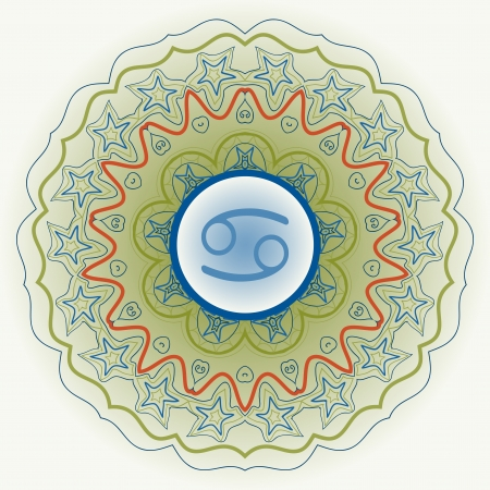 zodiac sign The Crab  Cancer  over oriental mandala green Vector
