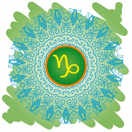zodiac sign The Goat  Capricorn  on ornate oriental mandala pattern green Vector