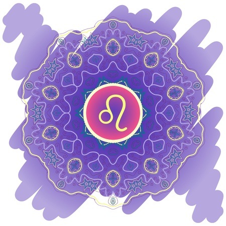 zodiac sign The Lion  Leo  on ornate oriental mandala motif violet blue pattern Vector
